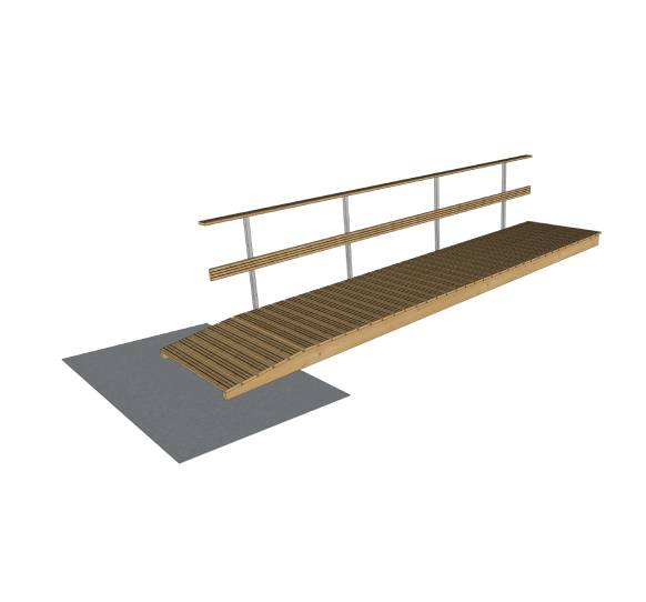 wooden gangway with railings